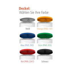 wählen Sie Ihre Deckelfarbe für oben und unten: weiß, orange, blau, grün, rot, schwarz